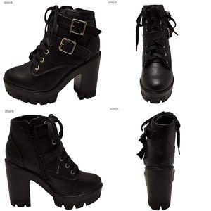 NWOB Chunky heel ankle lug boot